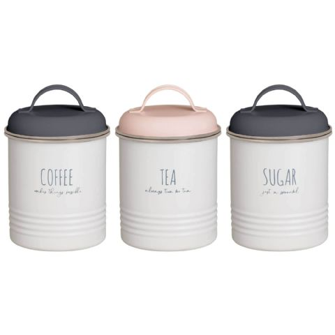 Retro Grey Cream Pink Metal Tea Coffee Sugar Canisters Tins